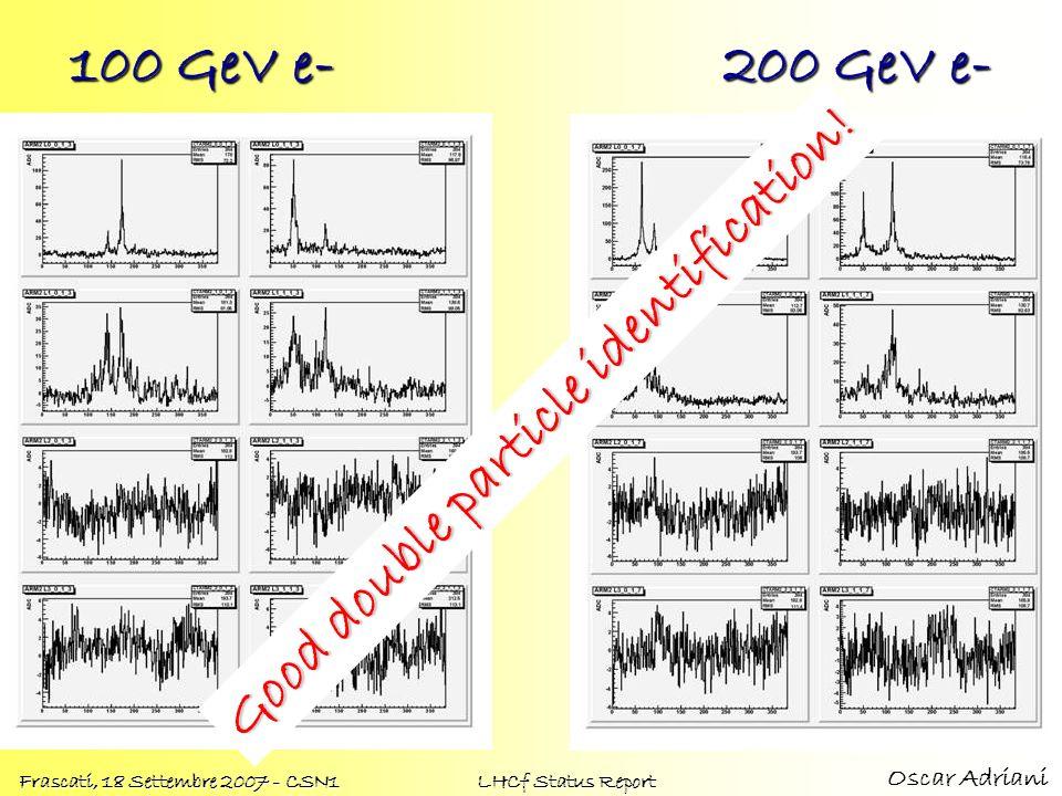 Oscar Adriani Frascati, 18 Settembre 2007 - CSN1 LHCf Status Report 100 GeV e- 200 GeV e- Good double particle identification!