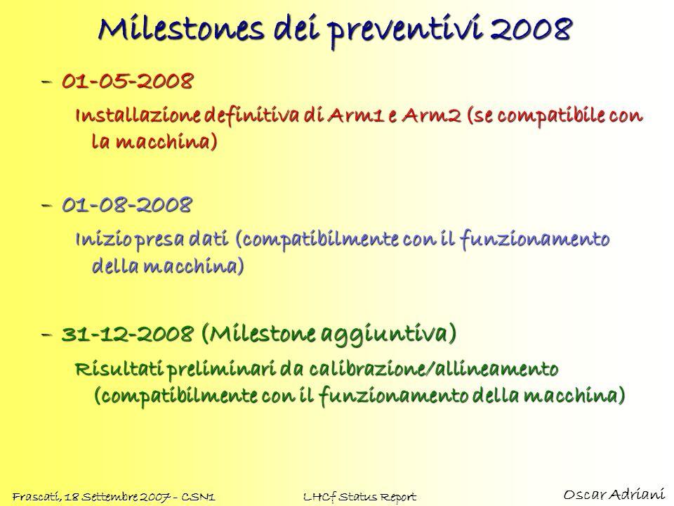 Oscar Adriani Frascati, 18 Settembre 2007 - CSN1 LHCf Status Report Milestones dei preventivi 2008 –01-05-2008 Installazione definitiva di Arm1 e Arm2