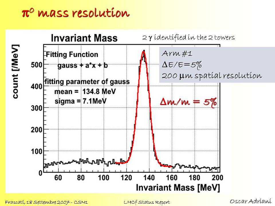 Oscar Adriani Frascati, 18 Settembre 2007 - CSN1 LHCf Status Report 0 mass resolution 0 mass resolution Arm #1 E/E=5% E/E=5% 200 m spatial resolution