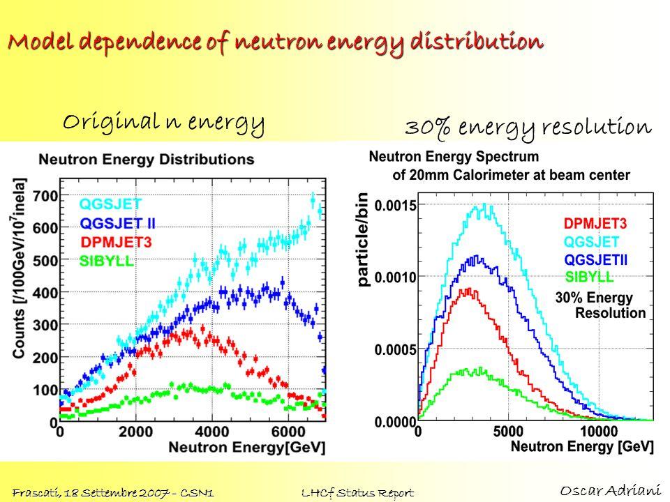 Oscar Adriani Frascati, 18 Settembre 2007 - CSN1 LHCf Status Report Model dependence of neutron energy distribution Original n energy 30% energy resol
