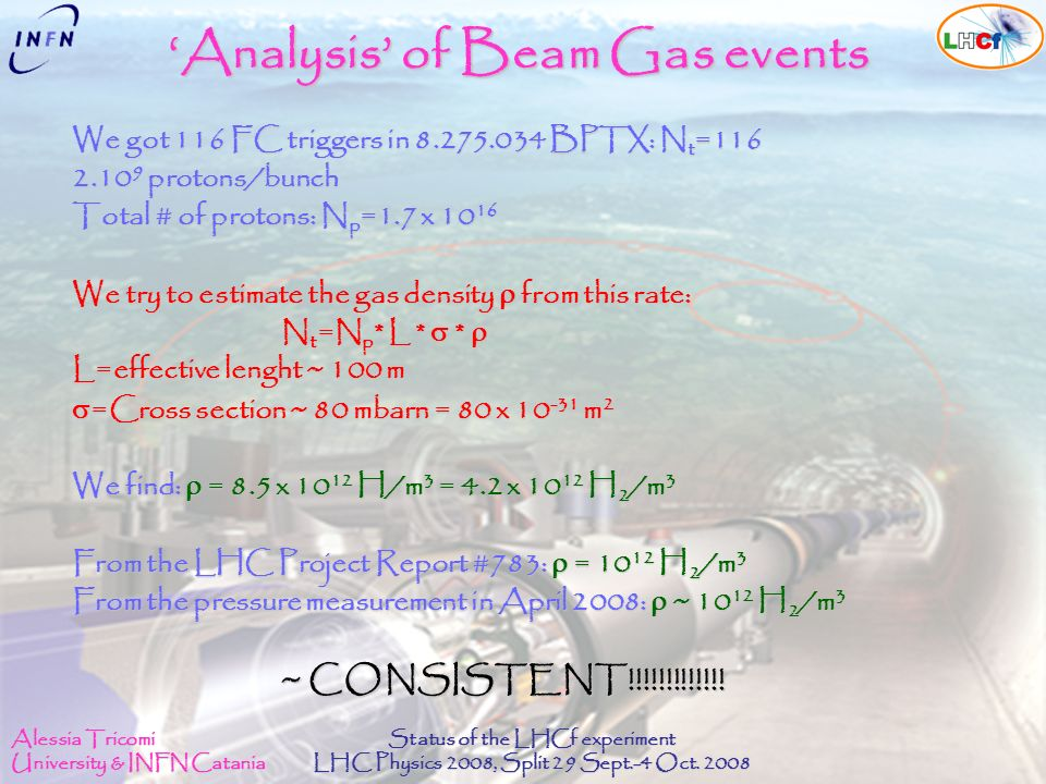 Alessia Tricomi University & INFN Catania Status of the LHCf experiment LHC Physics 2008, Split 29 Sept.-4 Oct. 2008 Analysis of Beam Gas events We go