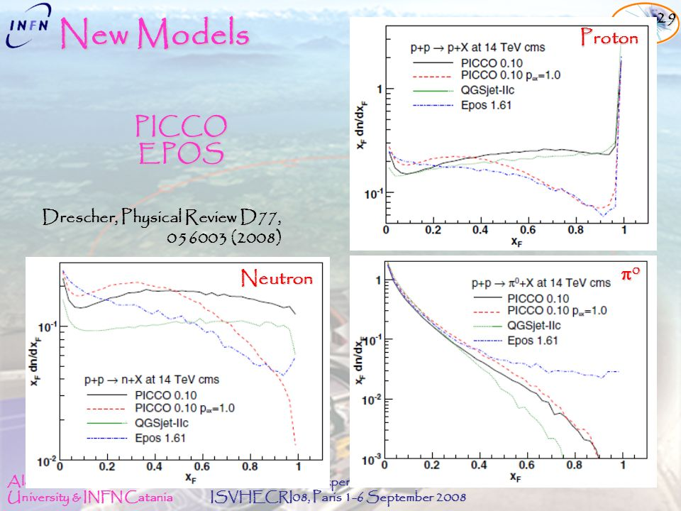 Alessia Tricomi University & INFN Catania The LHCf experiment at LHC ISVHECRI08, Paris 1-6 September 2008 New Models Drescher, Physical Review D77, 056003 (2008) 056003 (2008) PICCO EPOS Neutron 0 Proton 29
