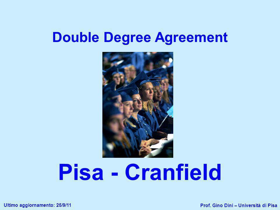 Double Degree Agreement Pisa - Cranfield Prof. Gino Dini – Università di Pisa Ultimo aggiornamento: 25/9/11