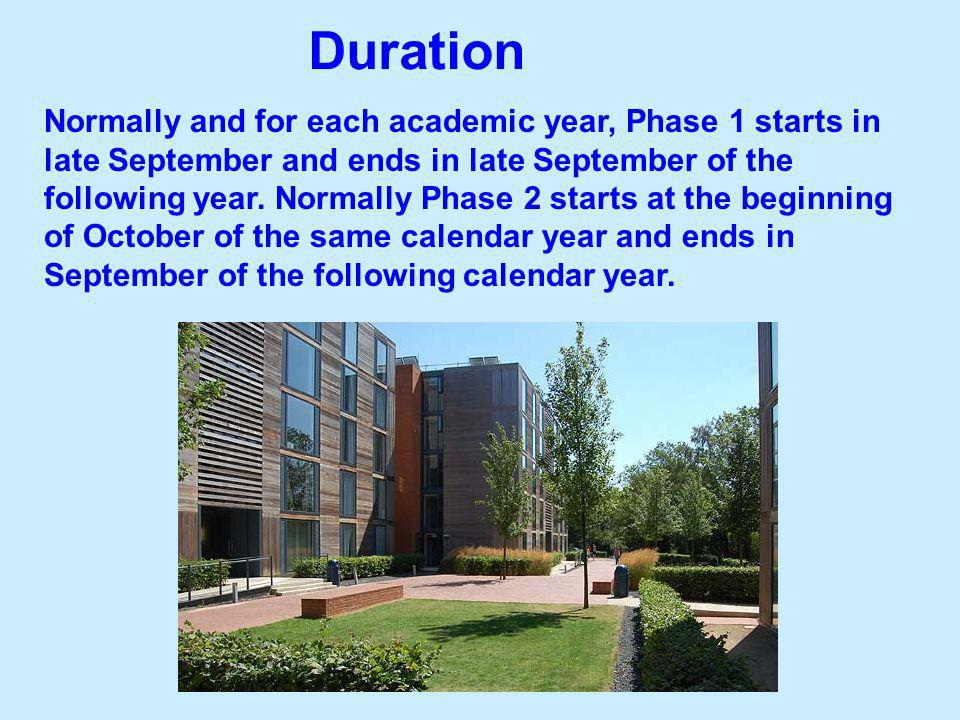 Normally and for each academic year, Phase 1 starts in late September and ends in late September of the following year. Normally Phase 2 starts at the