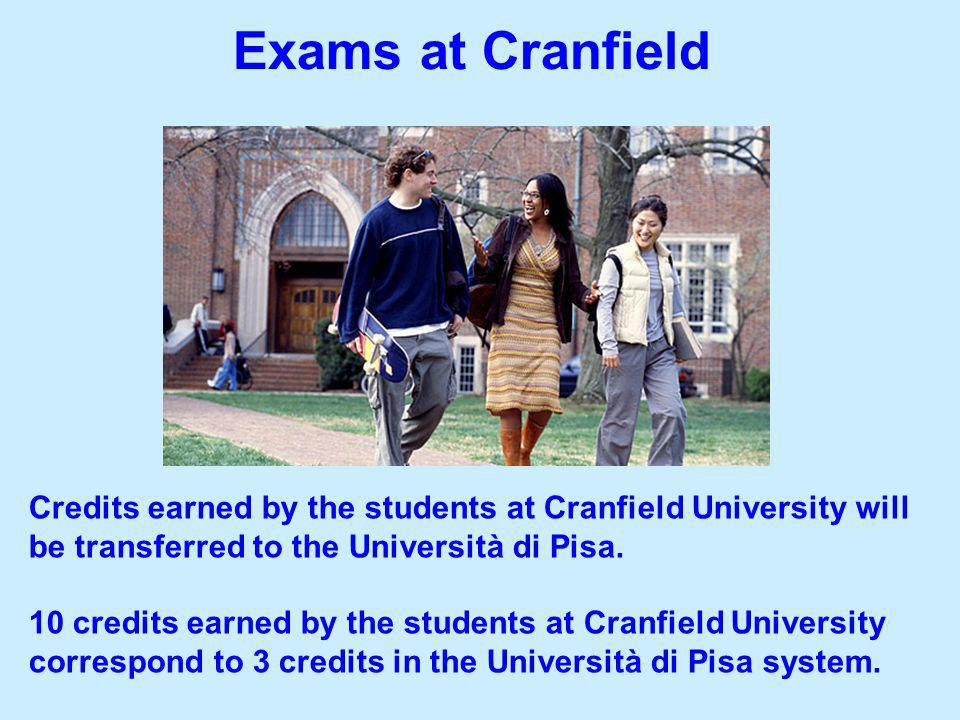 Credits earned by the students at Cranfield University will be transferred to the Università di Pisa. 10 credits earned by the students at Cranfield U