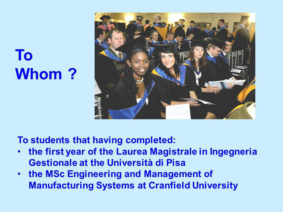 To students that having completed: the first year of the Laurea Magistrale in Ingegneria Gestionale at the Università di Pisa the MSc Engineering and