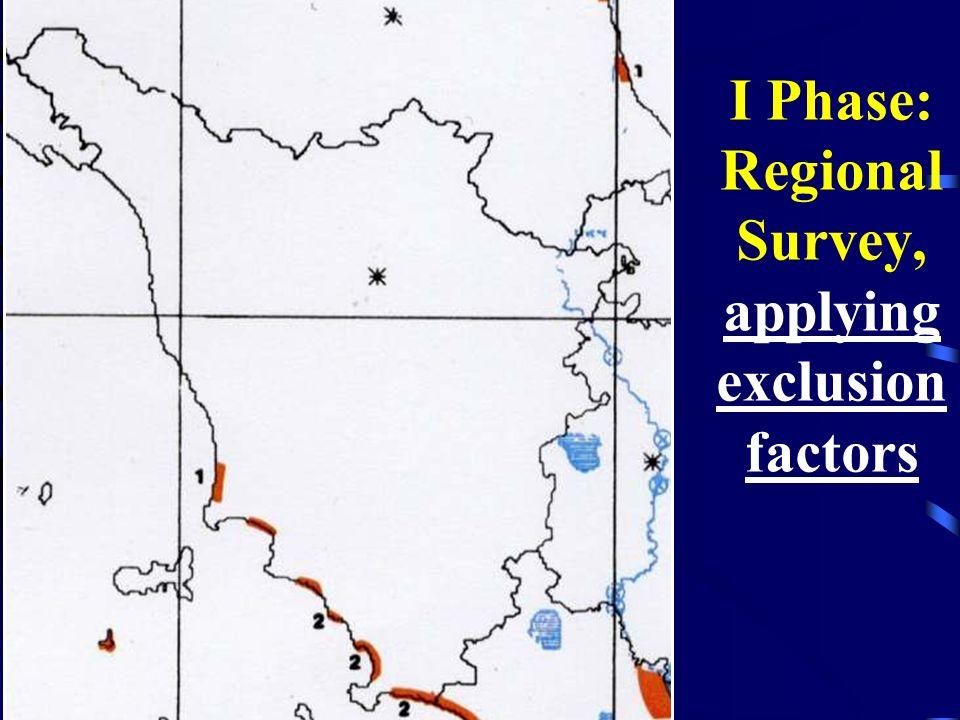 I Phase: Regional Survey, applying exclusion factors