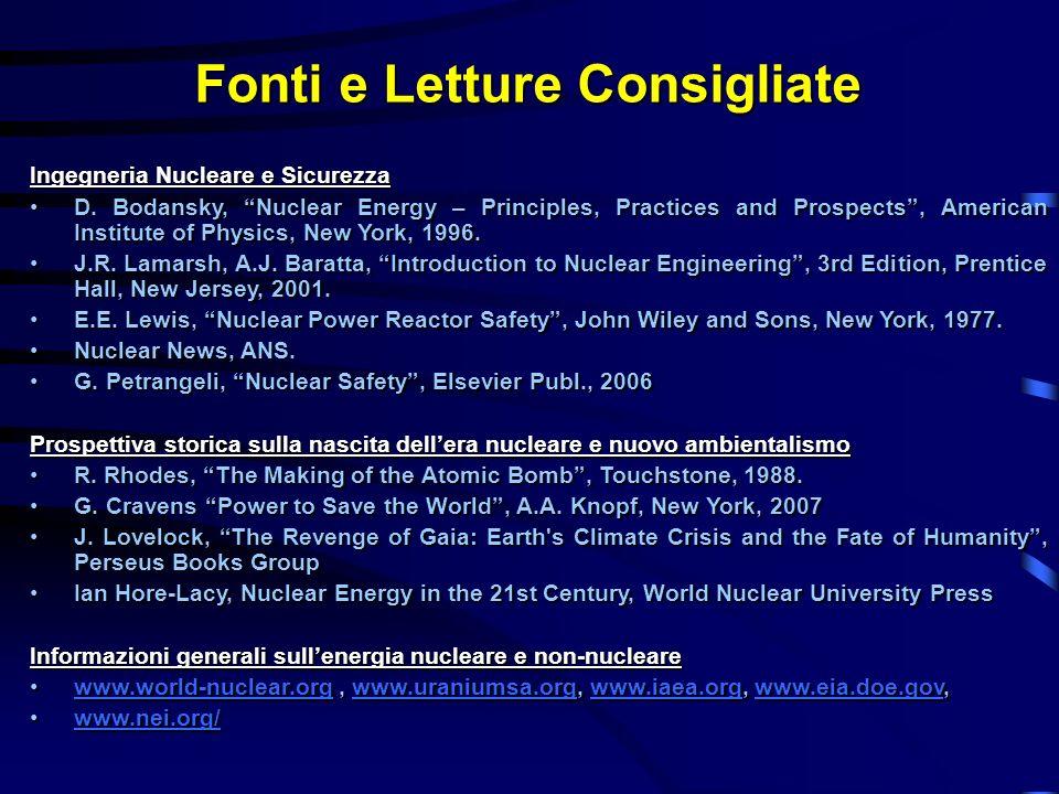 Fonti e Letture Consigliate Ingegneria Nucleare e Sicurezza D. Bodansky, Nuclear Energy – Principles, Practices and Prospects, American Institute of P