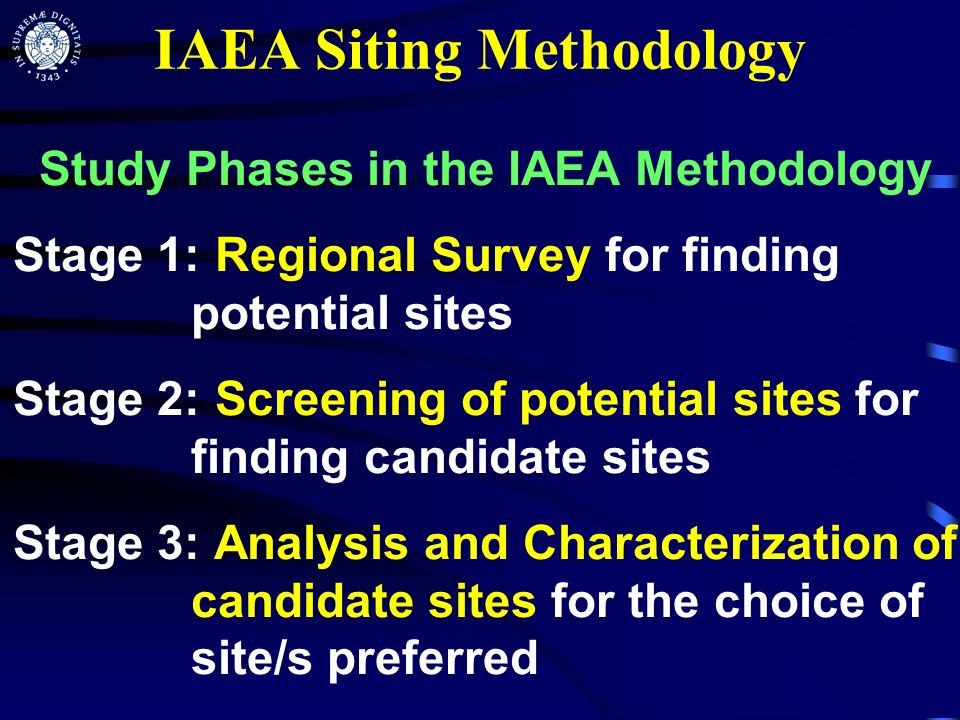 IAEA Siting Methodology Study Phases in the IAEA Methodology Stage 1: Regional Survey for finding potential sites Stage 2: Screening of potential site