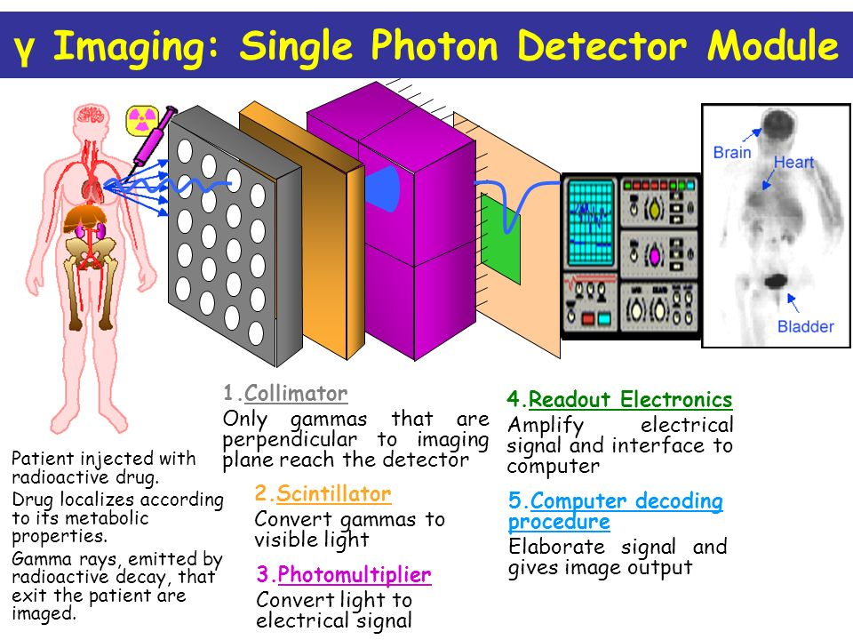 γ Imaging: Single Photon Detector Module Patient injected with radioactive drug.
