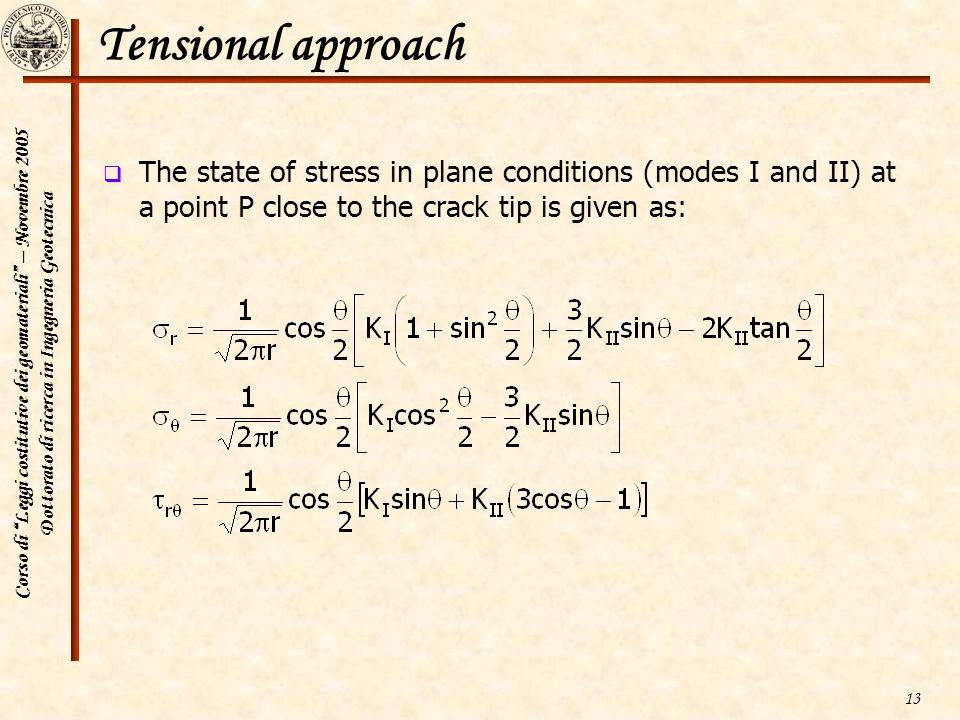 Corso di Leggi costitutive dei geomateriali – Novembre 2005 Dottorato di ricerca in Ingegneria Geotecnica 13 Tensional approach The state of stress in