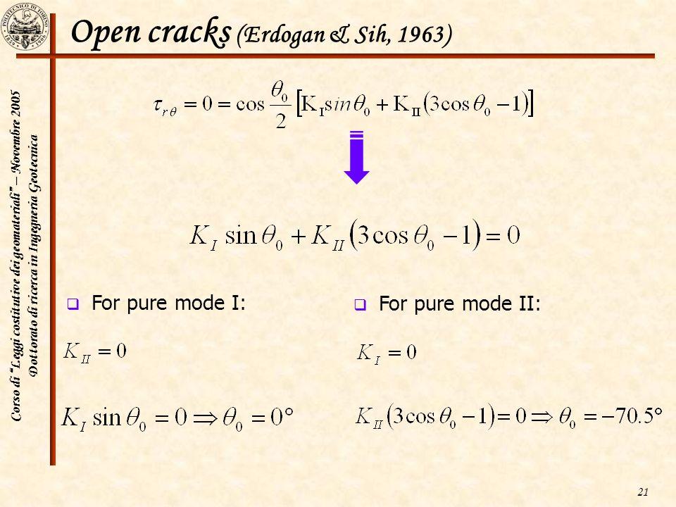 Corso di Leggi costitutive dei geomateriali – Novembre 2005 Dottorato di ricerca in Ingegneria Geotecnica 21 Open cracks (Erdogan & Sih, 1963) For pur