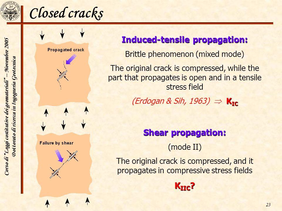 Corso di Leggi costitutive dei geomateriali – Novembre 2005 Dottorato di ricerca in Ingegneria Geotecnica 23 Closed cracks Induced-tensile propagation