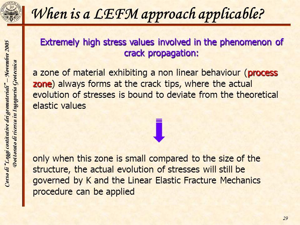 Corso di Leggi costitutive dei geomateriali – Novembre 2005 Dottorato di ricerca in Ingegneria Geotecnica 29 When is a LEFM approach applicable? proce