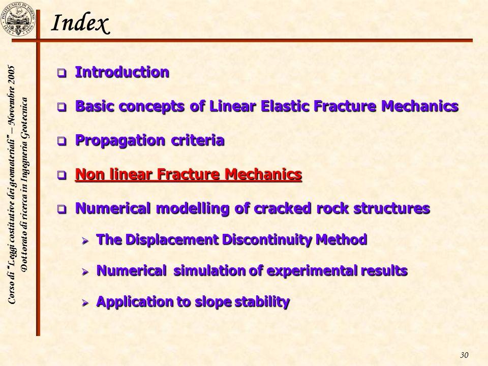 Corso di Leggi costitutive dei geomateriali – Novembre 2005 Dottorato di ricerca in Ingegneria Geotecnica 30 Index Introduction Introduction Basic con