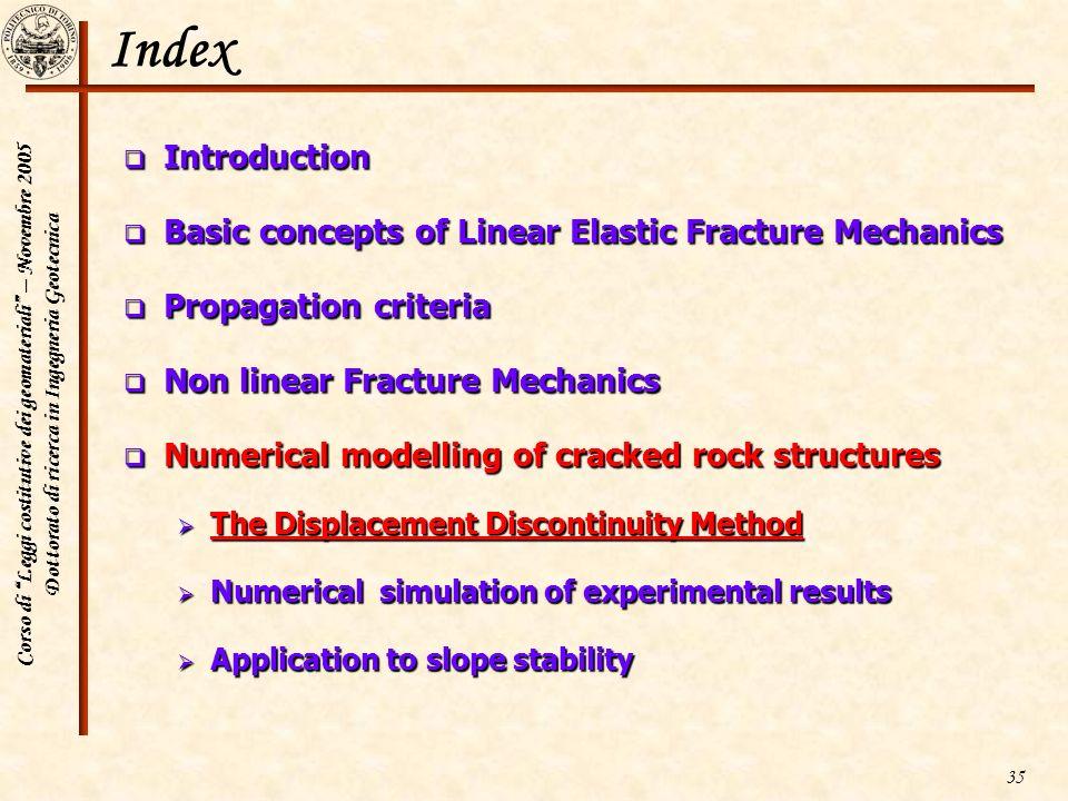 Corso di Leggi costitutive dei geomateriali – Novembre 2005 Dottorato di ricerca in Ingegneria Geotecnica 35 Index Introduction Introduction Basic con