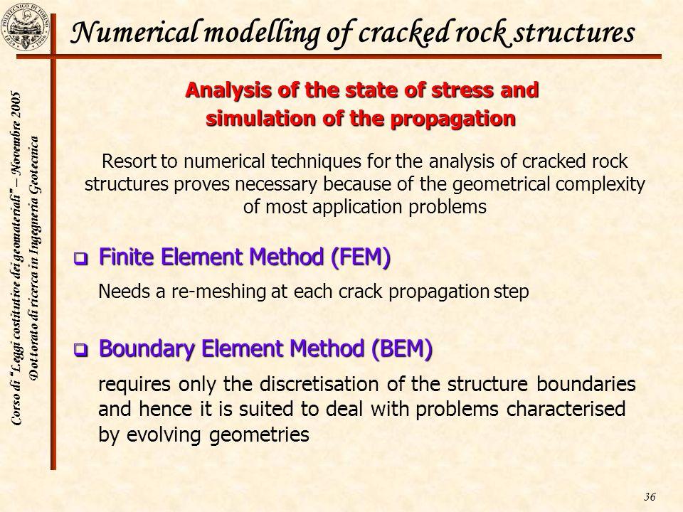 Corso di Leggi costitutive dei geomateriali – Novembre 2005 Dottorato di ricerca in Ingegneria Geotecnica 36 Numerical modelling of cracked rock struc