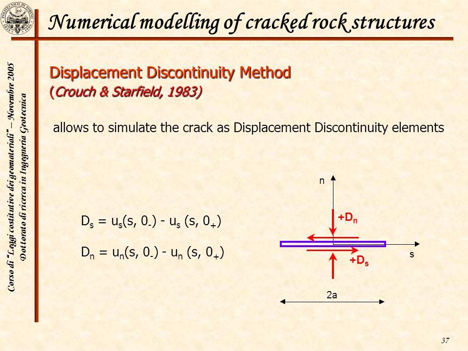 Corso di Leggi costitutive dei geomateriali – Novembre 2005 Dottorato di ricerca in Ingegneria Geotecnica 37 Numerical modelling of cracked rock struc