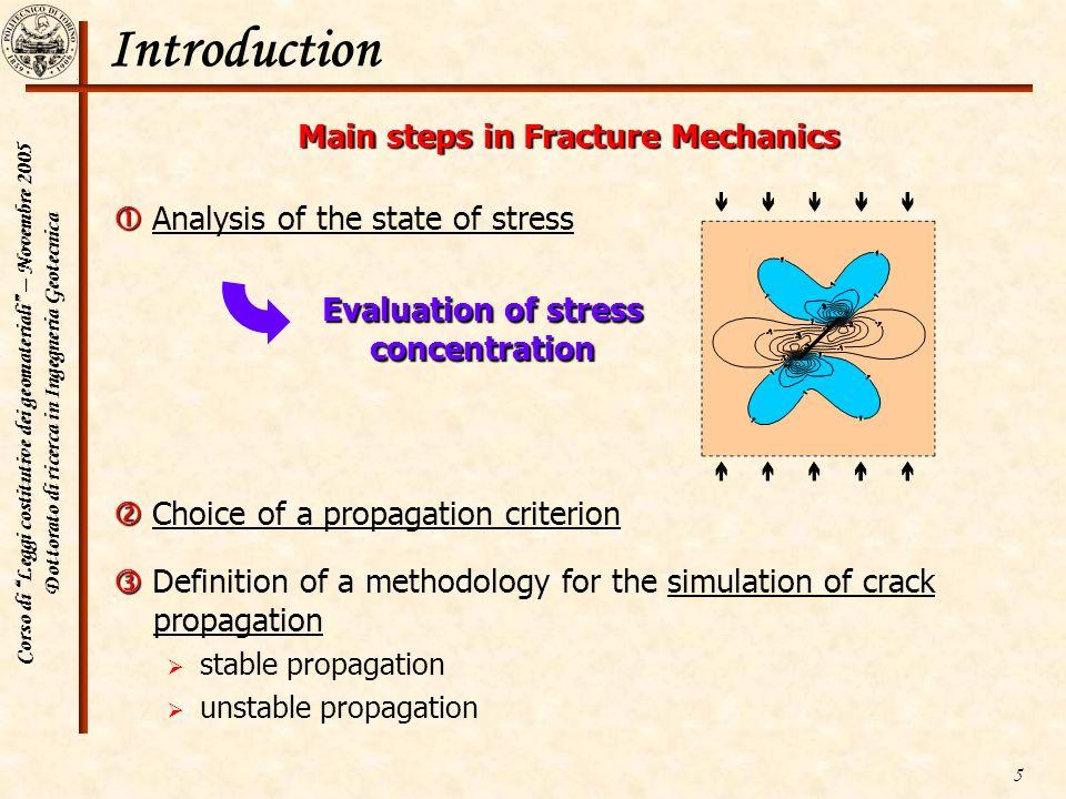 Corso di Leggi costitutive dei geomateriali – Novembre 2005 Dottorato di ricerca in Ingegneria Geotecnica 5 Introduction Main steps in Fracture Mechan