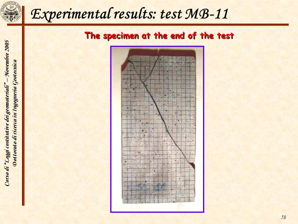 Corso di Leggi costitutive dei geomateriali – Novembre 2005 Dottorato di ricerca in Ingegneria Geotecnica 58 Experimental results: test MB-11 The spec