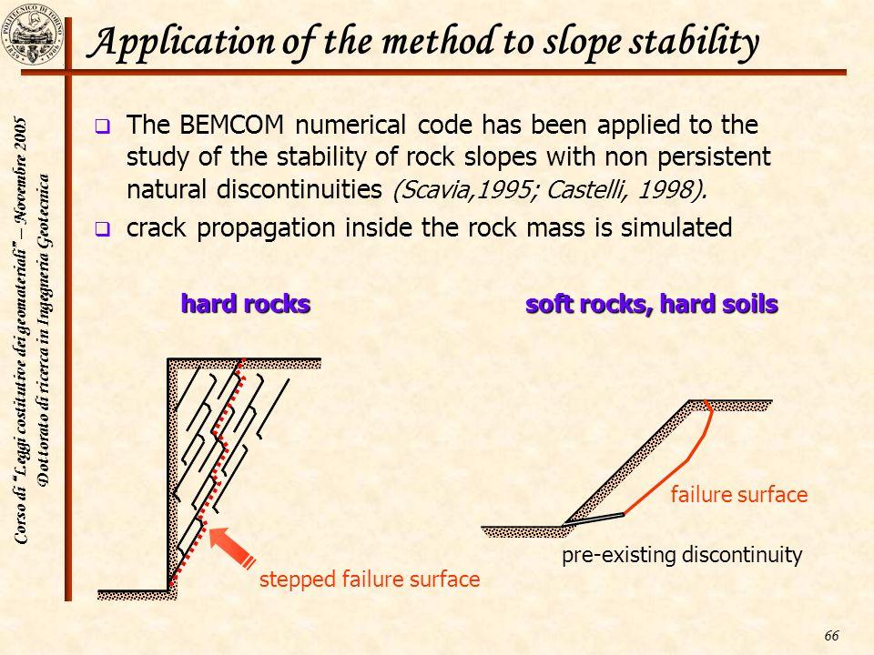 Corso di Leggi costitutive dei geomateriali – Novembre 2005 Dottorato di ricerca in Ingegneria Geotecnica 66 Application of the method to slope stabil