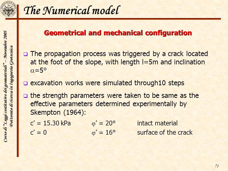 Corso di Leggi costitutive dei geomateriali – Novembre 2005 Dottorato di ricerca in Ingegneria Geotecnica 71 The Numerical model Geometrical and mecha