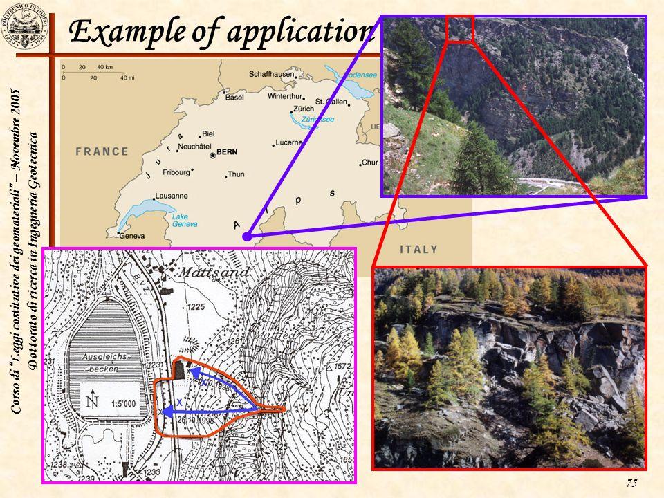Corso di Leggi costitutive dei geomateriali – Novembre 2005 Dottorato di ricerca in Ingegneria Geotecnica 75 Example of application to hard rock slope