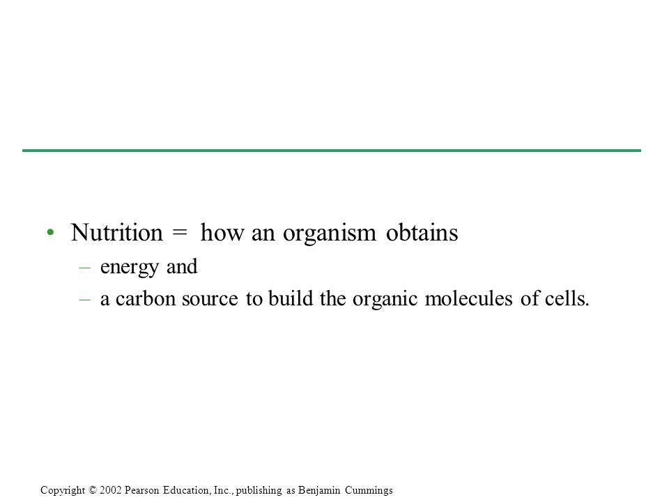 Nutrition = how an organism obtains –energy and –a carbon source to build the organic molecules of cells. Copyright © 2002 Pearson Education, Inc., pu