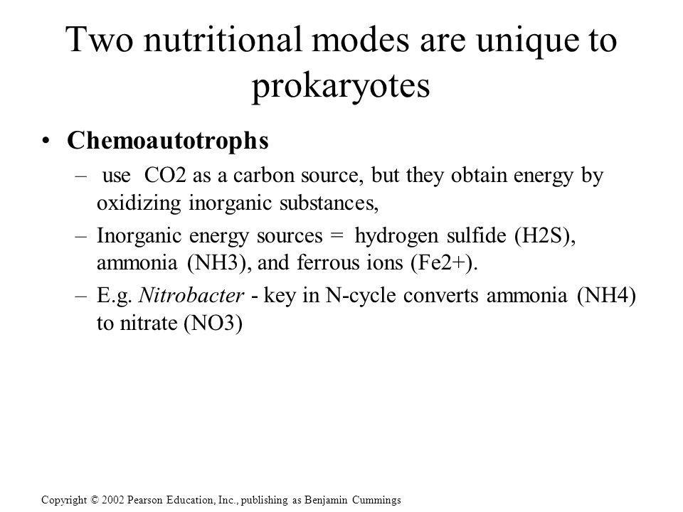 Copyright © 2002 Pearson Education, Inc., publishing as Benjamin Cummings Two nutritional modes are unique to prokaryotes Chemoautotrophs – use CO2 as
