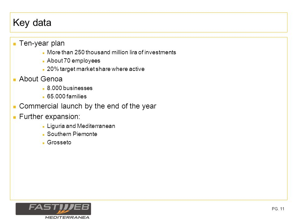 PG. 11 Key data Ten-year plan More than 250 thousand million lira of investments About 70 employees 20% target market share where active About Genoa 8