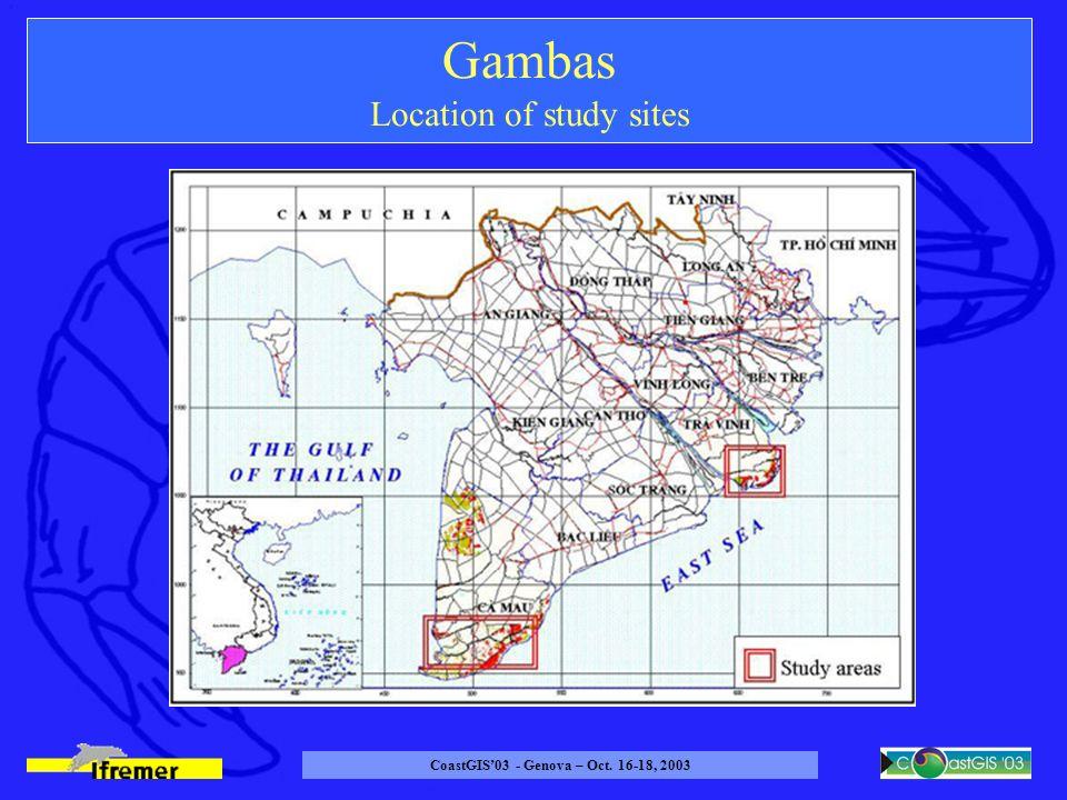 CoastGIS03 - Genova – Oct. 16-18, 2003 Gambas Location of study sites
