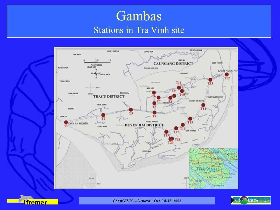 CoastGIS03 - Genova – Oct. 16-18, 2003 Gambas Stations in Tra Vinh site