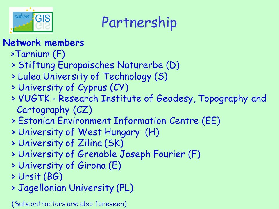 Network members >Tarnium (F) > Stiftung Europaisches Naturerbe (D) > Lulea University of Technology (S) > University of Cyprus (CY) > VUGTK - Research
