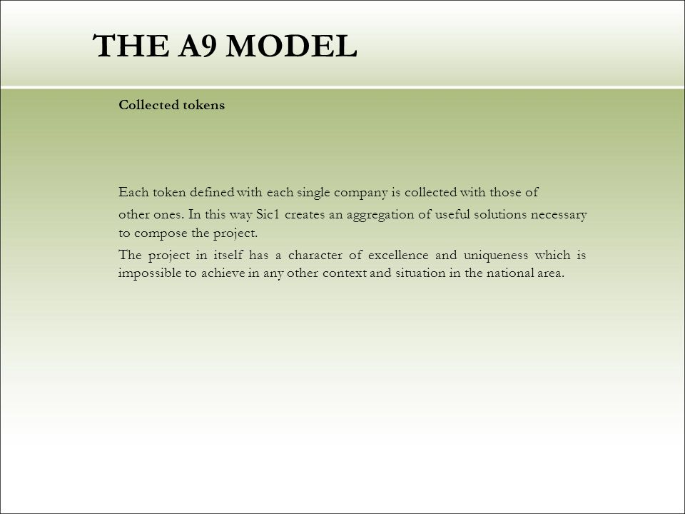 THE A9 MODEL Collected tokens Each token defined with each single company is collected with those of other ones.