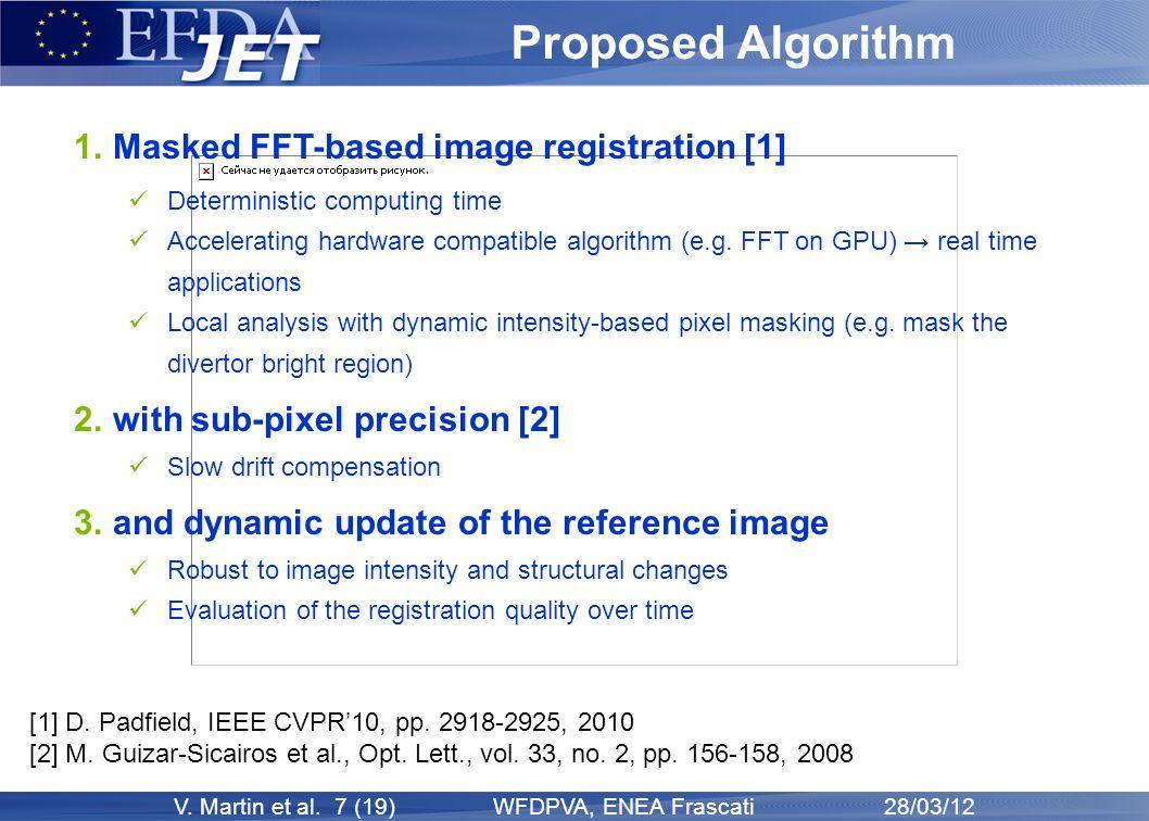 V. Martin et al. 7 (19) WFDPVA, ENEA Frascati 28/03/12 Proposed Algorithm 1. Masked FFT-based image registration [1] Deterministic computing time Acce