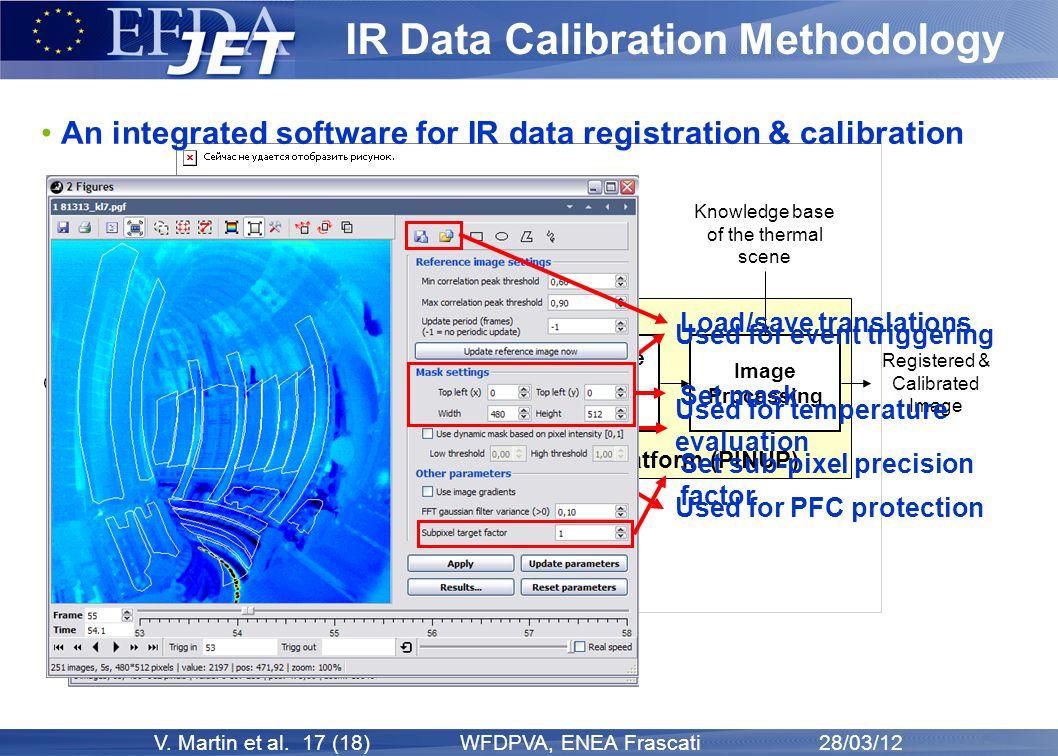 V. Martin et al. 17 (18) WFDPVA, ENEA Frascati 28/03/12 Plasma ImagiNg data Understanding Platform (PINUP) IR Data Calibration Methodology An integrat