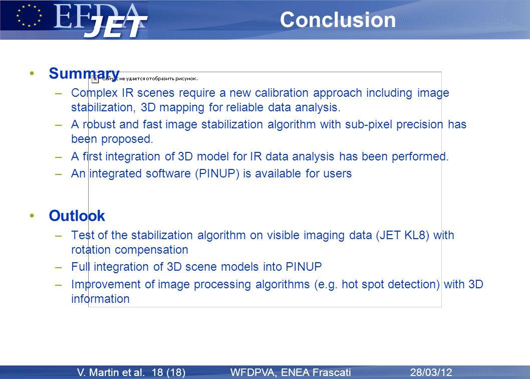 V. Martin et al. 18 (18) WFDPVA, ENEA Frascati 28/03/12 Conclusion Summary –Complex IR scenes require a new calibration approach including image stabi