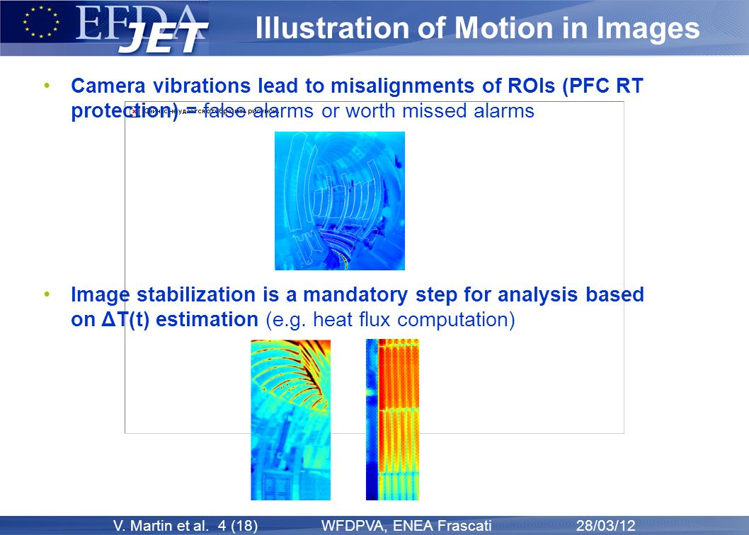 V. Martin et al. 4 (18) WFDPVA, ENEA Frascati 28/03/12 Illustration of Motion in Images Camera vibrations lead to misalignments of ROIs (PFC RT protec