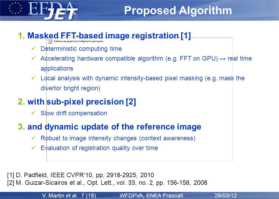 V. Martin et al. 7 (18) WFDPVA, ENEA Frascati 28/03/12 Proposed Algorithm 1. Masked FFT-based image registration [1] Deterministic computing time Acce