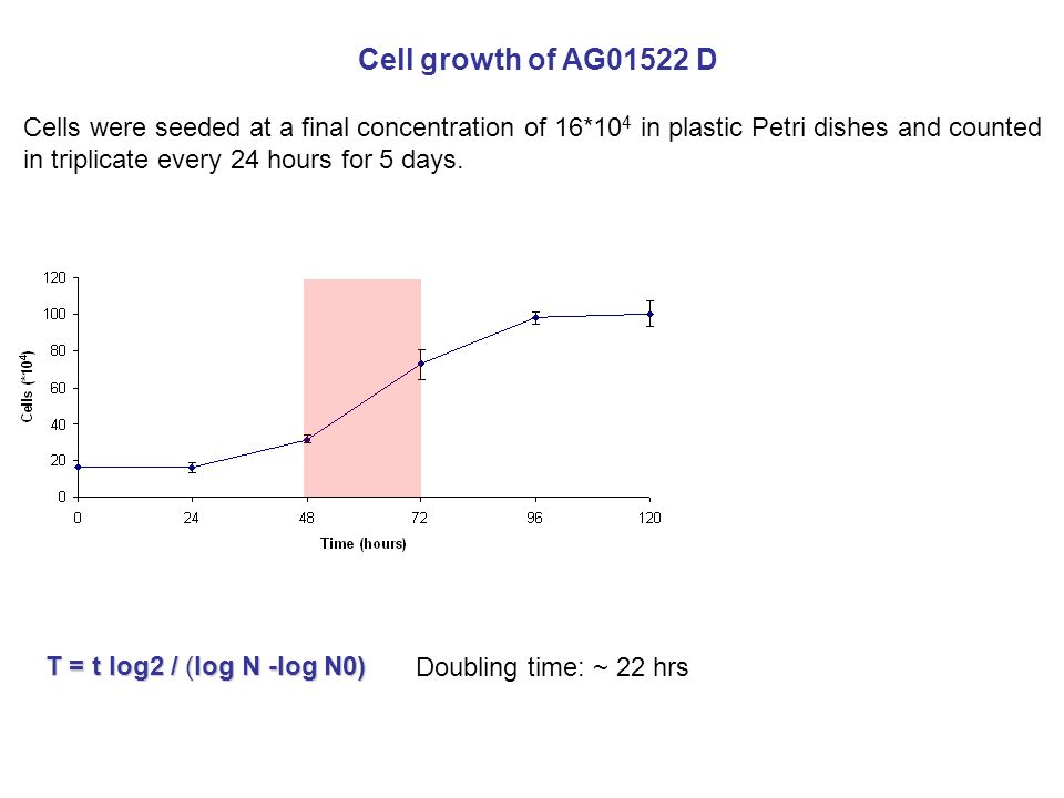 Cell growth of AG01522 D Doubling time: ~ 22 hrs T = t log2 / (log N -log N0) Cells were seeded at a final concentration of 16*10 4 in plastic Petri dishes and counted in triplicate every 24 hours for 5 days.
