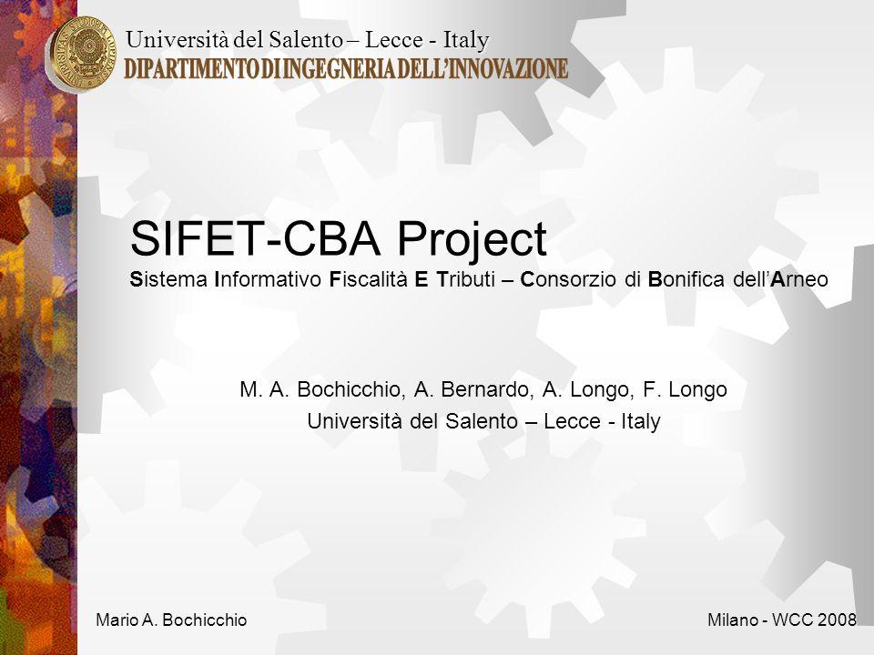 SIFET-CBA Project Sistema Informativo Fiscalità E Tributi – Consorzio di Bonifica dellArneo M.