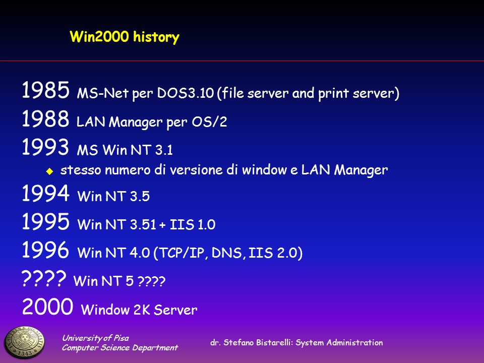 University of Pisa Computer Science Department dr. Stefano Bistarelli: System Administration Win2000 history 1985 MS-Net per DOS3.10 (file server and