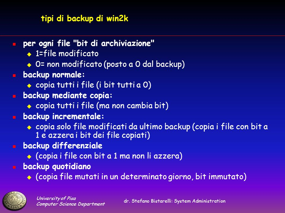 University of Pisa Computer Science Department dr. Stefano Bistarelli: System Administration tipi di backup di win2k per ogni file