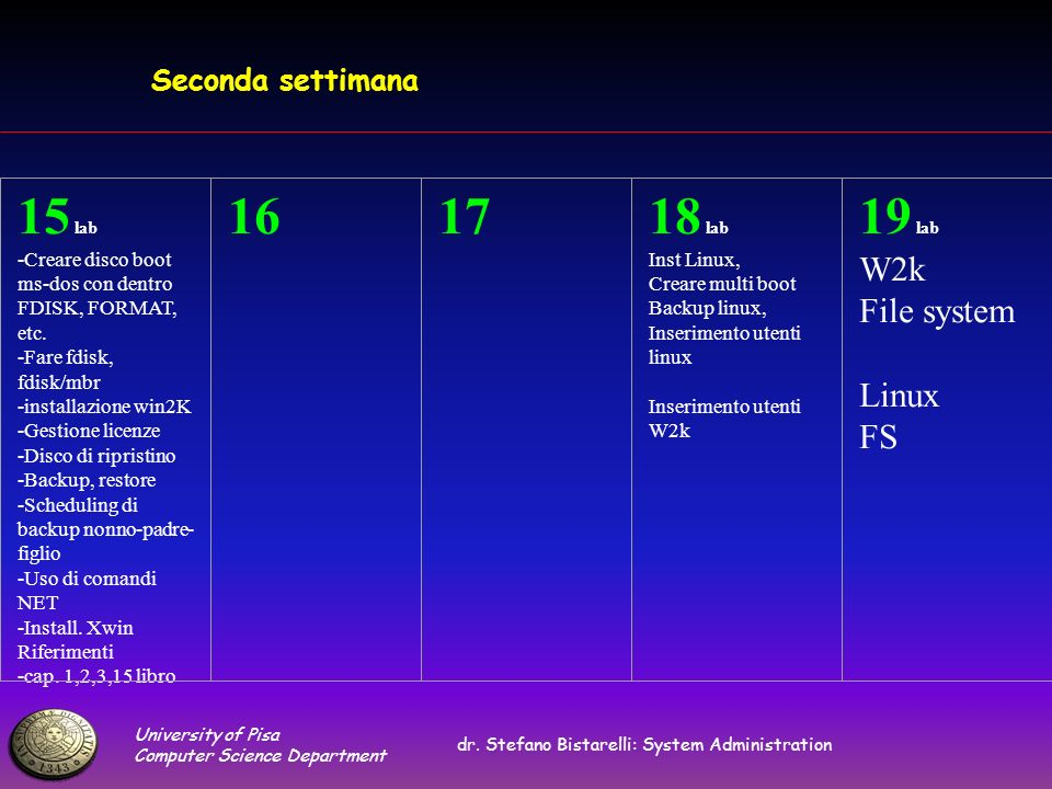 University of Pisa Computer Science Department dr. Stefano Bistarelli: System Administration Seconda settimana 15 lab -Creare disco boot ms-dos con de