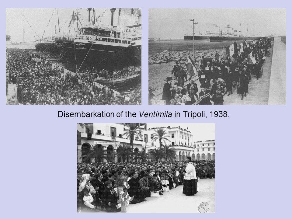Disembarkation of the Ventimila in Tripoli, 1938.