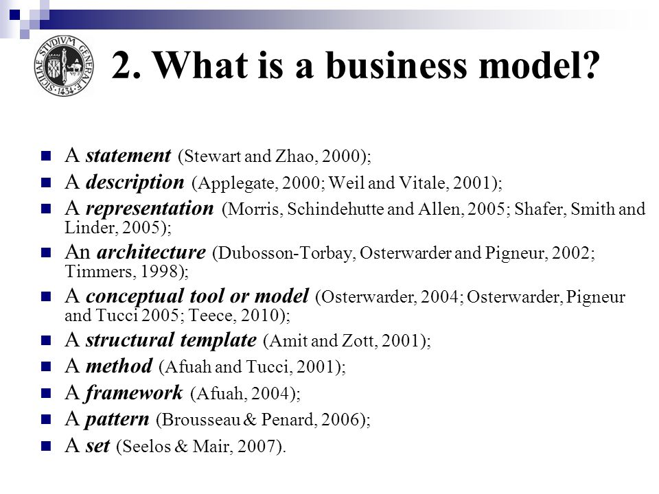 Business Model Layer Source: Osterwalder (2004) A business model describes the rationale of how an organization creates, delivers and captures value, Osterwalder (2010)