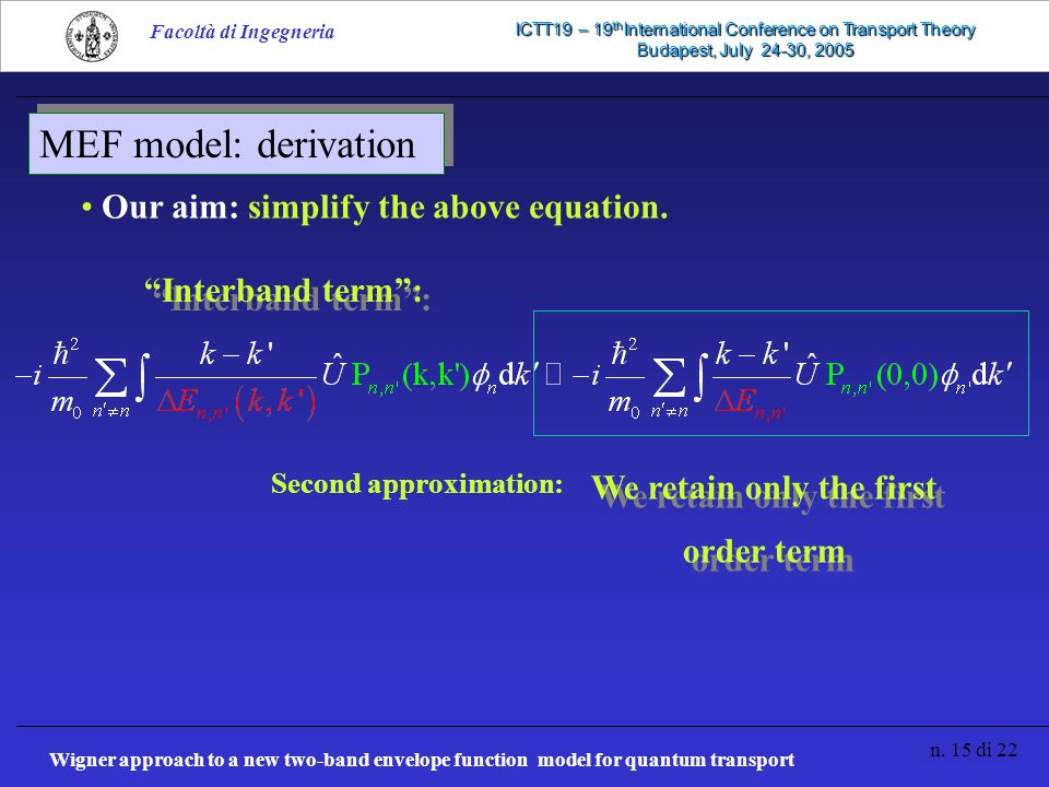Wigner approach to a new two-band envelope function model for quantum transport n.