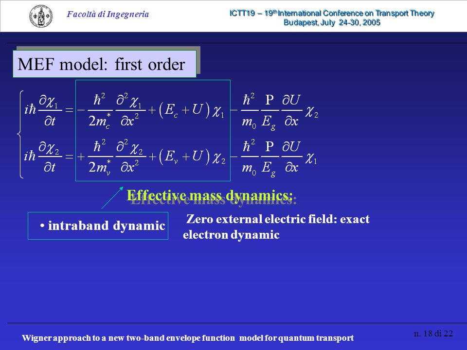 Wigner approach to a new two-band envelope function model for quantum transport n. 18 di 22 Facoltà di Ingegneria ICTT19 – 19 th International Confere