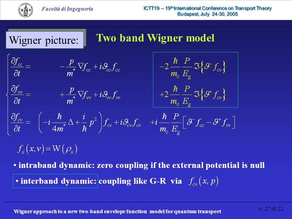 Wigner approach to a new two-band envelope function model for quantum transport n. 27 di 22 Facoltà di Ingegneria ICTT19 – 19 th International Confere