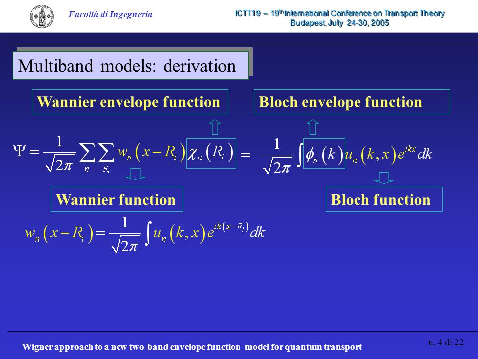 Wigner approach to a new two-band envelope function model for quantum transport n. 4 di 22 Facoltà di Ingegneria ICTT19 – 19 th International Conferen